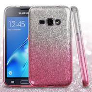 Full Glitter Hybrid Protective Case for Samsung Galaxy Amp 2 / Express 3 / J1 (2016) - Gradient Pink