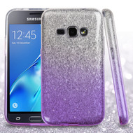 Full Glitter Hybrid Protective Case for Samsung Galaxy Amp 2 / Express 3 / J1 (2016) - Gradient Purple