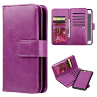 Luxury Timberland Series Double Flop Leather Wallet with Removable Magnet Case for iPhone 8 Plus / 7 Plus - Purple