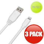 *SALE* 10 ft. Mybat Lightning Connector to USB Charging and Sync Cable - 3 Pack White