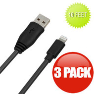 *SALE* 10 ft. Mybat Lightning Connector to USB Charging and Sync Cable - 3 Pack Black