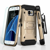 3-IN-1 Kinetic Hybrid Armor Case with Holster and Tempered Glass Screen Protector for Samsung Galaxy S7 - Gold