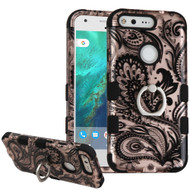 Military Grade TUFF Image Hybrid Armor Case with Ring Holder for Google Pixel XL - Phoenix Flower Rose Gold