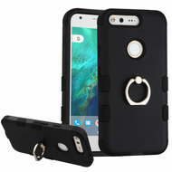 Military Grade TUFF Hybrid Armor Case with Ring Holder for Google Pixel XL - Black