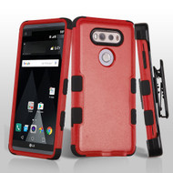 Military Grade Certified TUFF Hybrid Armor Case with Holster for LG V20 - Red