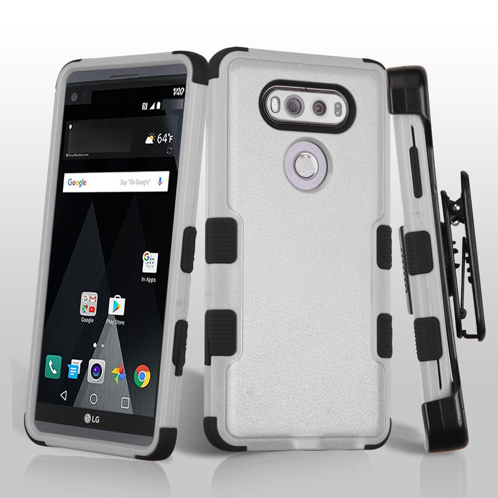 military grade certified tuff hybrid armor case with holster for lg v20 grey hd accessory. Black Bedroom Furniture Sets. Home Design Ideas