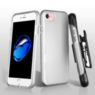 TUFF Contempo Hybrid Armor Case with Holster for iPhone 8 / 7 - Silver