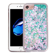 Quicksand Glitter Transparent Case for iPhone 8 / 7 - Teal Green