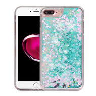 Quicksand Glitter Transparent Case for iPhone 8 Plus / 7 Plus - Teal Green