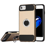 *SALE* Carbon Tech Multi-Layer Hybrid Armor Case with Ring Holder for iPhone 6 / 6S / 7 - Gold