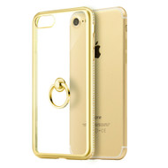 *Sale* Diamond Stud Electroplating Clear TPU Case Ring Holder for iPhone 7 - Gold