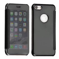 Electroplating Book-Style Case with Semi-Transparent Flip Cover for iPhone 8 / 7 - Black