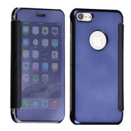 Electroplating Book-Style Case with Semi-Transparent Flip Cover for iPhone 8 / 7 - Blue