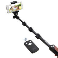 Professional Aluminum Selfie Stick with Wireless Remote Shutter Control - Black