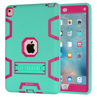 *Sale* Shock Absorption Heavy Duty Rugged Hybrid Armor Case with Kickstand for iPad Pro 9.7 inch - Teal Green Hot Pink