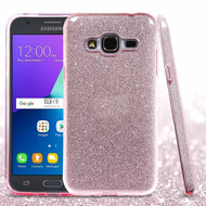 Full Glitter Hybrid Protective Case for Samsung Galaxy Amp Prime / Express Prime / J3 / Sol - Pink