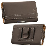 Premium Horizontal Leather Pouch Case - Brown 29639