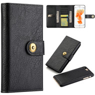 Grand Lux Magnetic Leather Tri-Fold Wallet Case for iPhone 8 Plus / 7 Plus - Black
