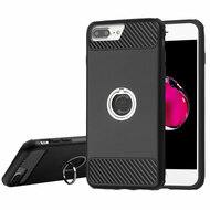 *SALE* Carbon Tech Multi-Layer Hybrid Armor Case with Ring Holder for iPhone 6 Plus / 6S Plus / 7 Plus - Black