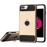 Carbon Tech Multi-Layer Hybrid Armor Case with Ring Holder for iPhone 6 Plus / 6S Plus / 7 Plus - Gold