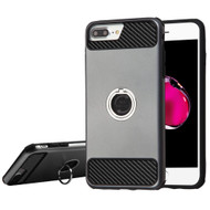 Carbon Tech Multi-Layer Hybrid Armor Case with Ring Holder for iPhone 6 Plus / 6S Plus / 7 Plus - Grey