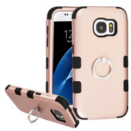 Military Grade TUFF Hybrid Armor Case with Ring Holder for Samsung Galaxy S7 - Rose Gold