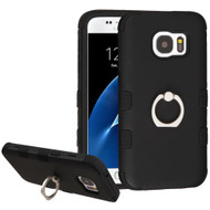 Military Grade TUFF Hybrid Armor Case with Ring Holder for Samsung Galaxy S7 - Black
