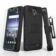 *SALE* Kinetic Hybrid Case + Holster + Tempered Glass for ZTE Avid Plus / Avid Trio / Maven 2 / Prestige - Black