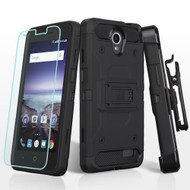 Kinetic Hybrid Case + Holster + Tempered Glass for ZTE Avid Plus / Avid Trio / Maven 2 / Prestige - Black
