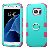 Military Grade TUFF Hybrid Armor Case with Ring Holder for Samsung Galaxy S7 - Teal Green Hot Pink