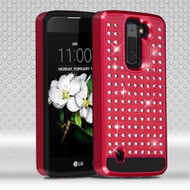 Luxury Bling Diamond Hybrid Case for LG K7 / Escape 3 / Treasure LTE / Tribute 5 - Red