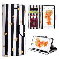 Executive Graphic Leather Wallet Case for iPhone 6 Plus / 6S Plus - Chic Hearts