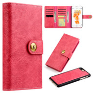 Grand Lux Magnetic Leather Tri-Fold Wallet Case for iPhone 7 Plus - Hot Pink