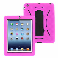 Impact Armor Hybrid Case with Integrated Screen Protector for iPad 2, iPad 3 and iPad 4th Generation - Hot Pink