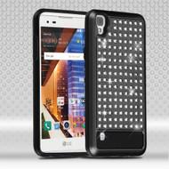 *Sale* Luxury Bling Diamond Hybrid Case for LG Tribute HD / X Style - Black