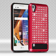 *Sale* Luxury Bling Diamond Hybrid Case for LG Tribute HD / X Style - Red