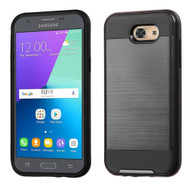 Brushed Hybrid Armor Case for Samsung Galaxy J3 (2017) / J3 Emerge / J3 Prime / Amp Prime 2 / Sol 2 - Black