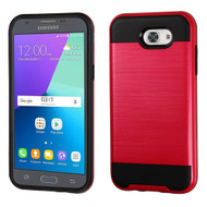 Brushed Hybrid Armor Case for Samsung Galaxy J3 (2017) / J3 Emerge / J3 Prime / Amp Prime 2 / Sol 2 - Red