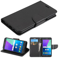 Diary Leather Wallet Case for Samsung Galaxy J3 (2017) / J3 Emerge / J3 Prime / Amp Prime 2 / Sol 2 - Black