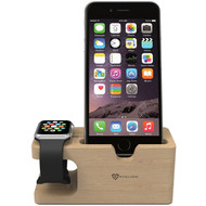 Wood Desktop Charging Dock Stand for Apple Watch and Smartphone