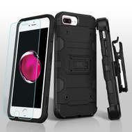 Military Grade Storm Tank Case + Holster + Tempered Glass for iPhone 8 Plus / 7 Plus / 6S Plus / 6 Plus - Black