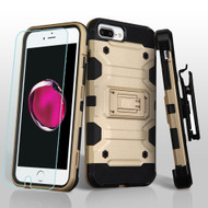 Military Grade Storm Tank Case + Holster + Tempered Glass Protector for iPhone 8 Plus / 7 Plus / 6S Plus / 6 Plus - Gold