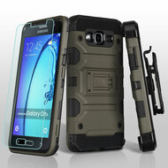 Military Grade Storm Tank Hybrid Case with Holster and Tempered Glass Screen Protector for Samsung Galaxy On5 - Grey