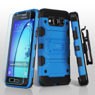Military Grade Storm Tank Hybrid Case with Holster and Tempered Glass Screen Protector for Samsung Galaxy On5 - Blue