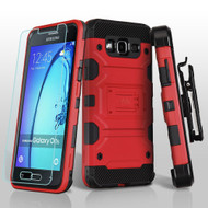Military Grade Storm Tank Hybrid Case with Holster and Tempered Glass Screen Protector for Samsung Galaxy On5 - Red