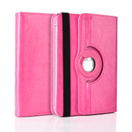 Universal 360 Degree Rotating Leather Portfolio Kickstand Case - Hot Pink