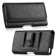 Premium Leather Folio Hip Case with Card Slot - Black 29172