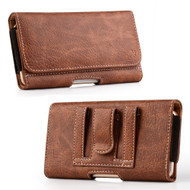 Premium Leather Folio Hip Case with Card Slot - Brown