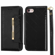 Designer Checker Patent Leather Wallet Case for iPhone 7 - Black