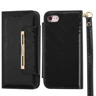 Designer Checker Patent Leather Wallet Case for iPhone 8 / 7 - Black